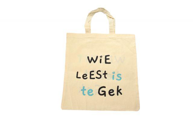 Leestas - Wie leest is te gek / Wie dit leest is gek.