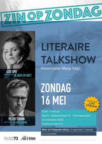 Online literaire talkshow: Zin op Zondag met Lize Spit en Peter Terrin